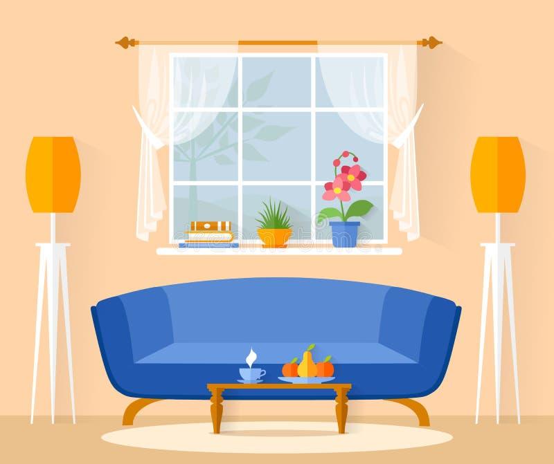 Wewnętrznego projekta żywy pokój w mieszkanie stylu wektor ilustracji