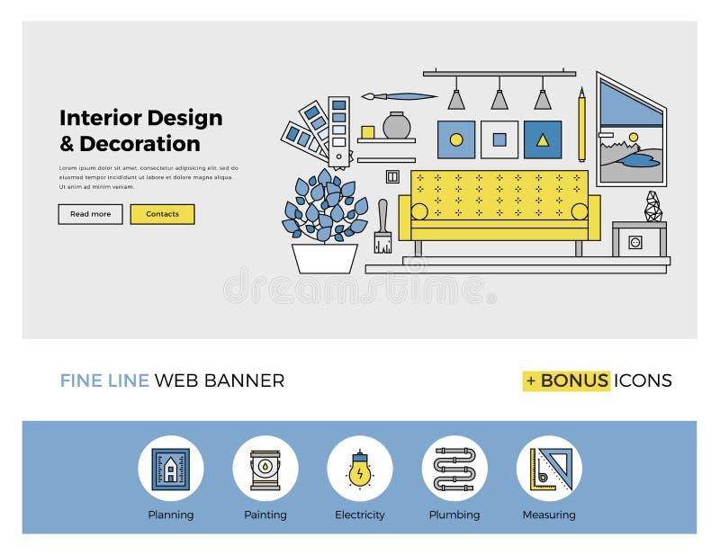 Wewnętrznego projekta mieszkania linii sztandar royalty ilustracja