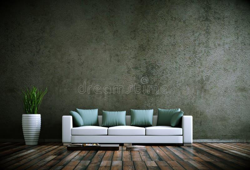 Wewnętrznego projekta nowożytny jaskrawy pokój z białą kanapą royalty ilustracja