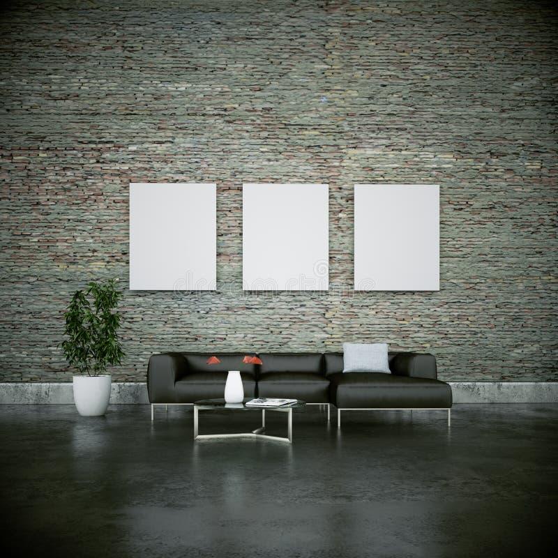 Wewnętrznego projekta nowożytny jaskrawy pokój z popielatą kanapą royalty ilustracja