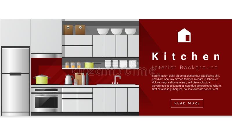 Wewnętrznego projekta Nowożytny kuchenny tło ilustracji
