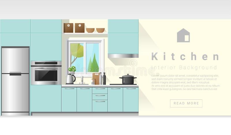 Wewnętrznego projekta Nowożytny kuchenny tło royalty ilustracja