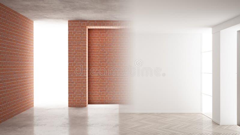 Wewnętrznego projekta odświeżania, przed i po, remontowego i ściennego obraz, herringbone parkietowa podłoga, kroki rozwój, dom ilustracja wektor