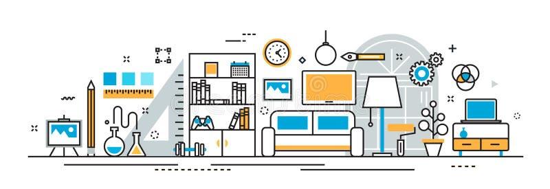 Wewnętrznego projekta procesu dekoraci strony internetowej chodnikowiec i sztandar ilustracja wektor