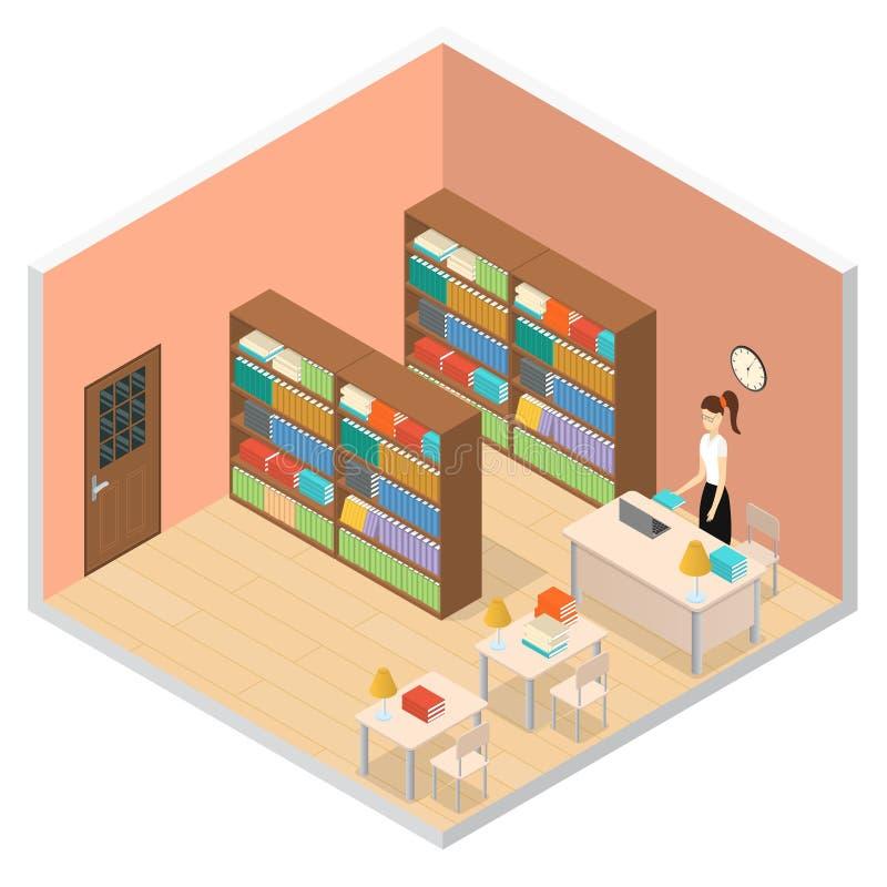 Wewnętrznej biblioteki publicznej Isometric widok wektor royalty ilustracja