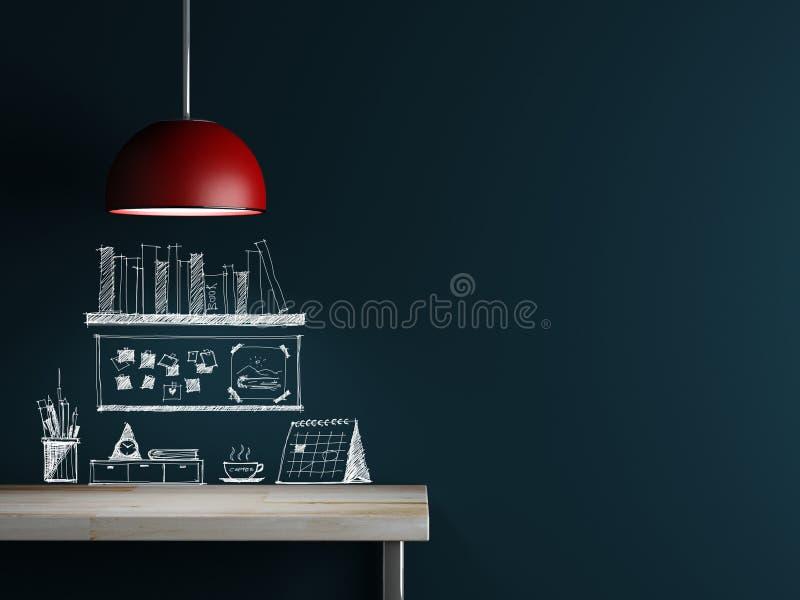 Wewnętrznej dekoraci i nakreślenia akcesorium na ścianie ilustracji