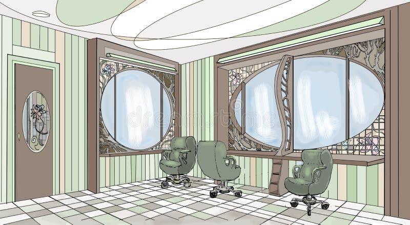 Wewnętrznej graficznej fryzjer męski zieleni nowożytny styl obraz stock