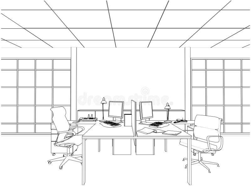 Wewnętrzni Biurowi pokoje Wektorowi royalty ilustracja
