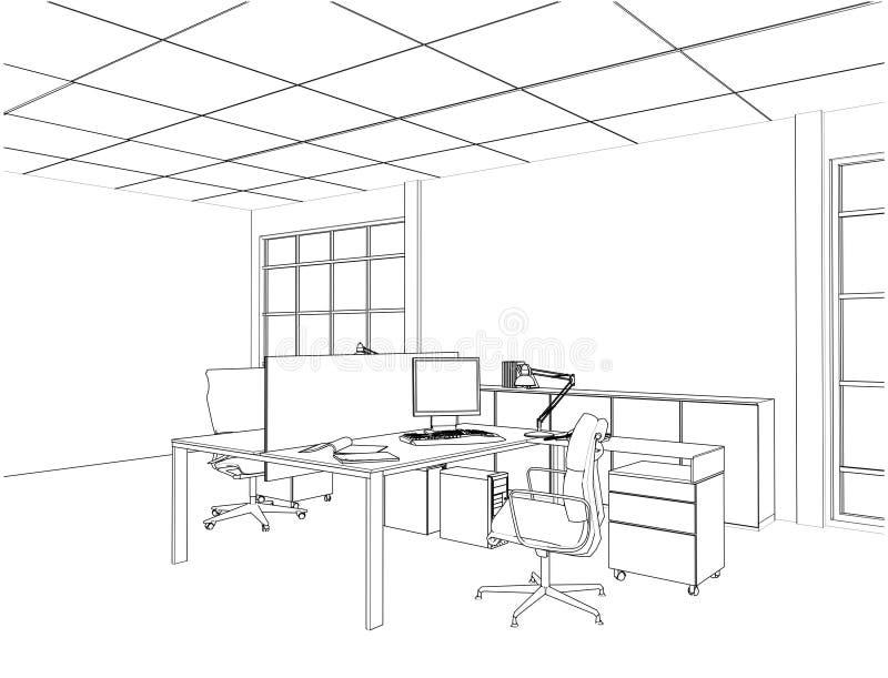 Wewnętrzni Biurowi pokoje Wektorowi ilustracji