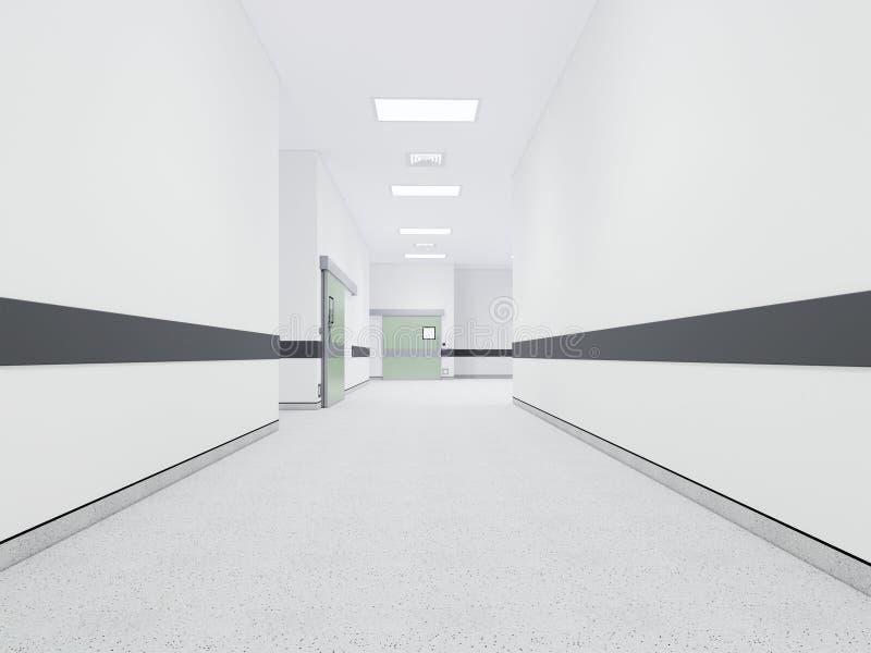 Wewnętrzni 3D renderingu korytarze Dla sali operacyjnej ilustracji
