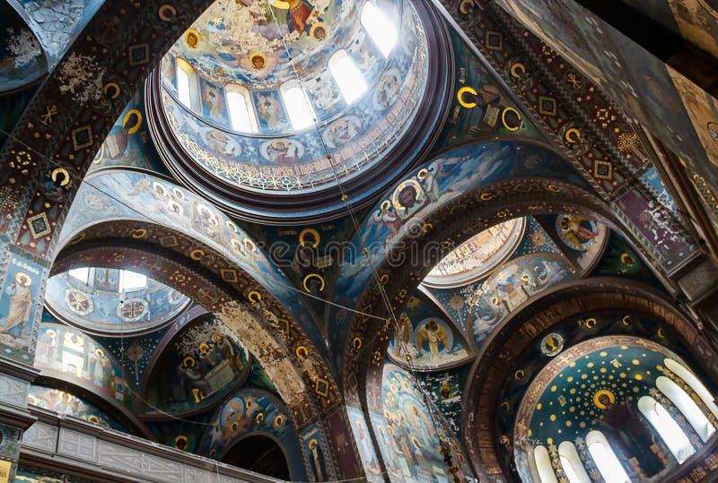 Wewnętrznie meble Panteleimonovsky katedra w nowym obrazy royalty free