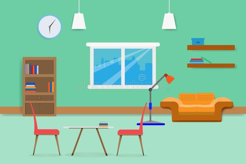 Wewnętrzny żywy izbowy projekt relaksuje z kanapy okno w zieleni ściany tle i półka na książki ilustracja ilustracja wektor