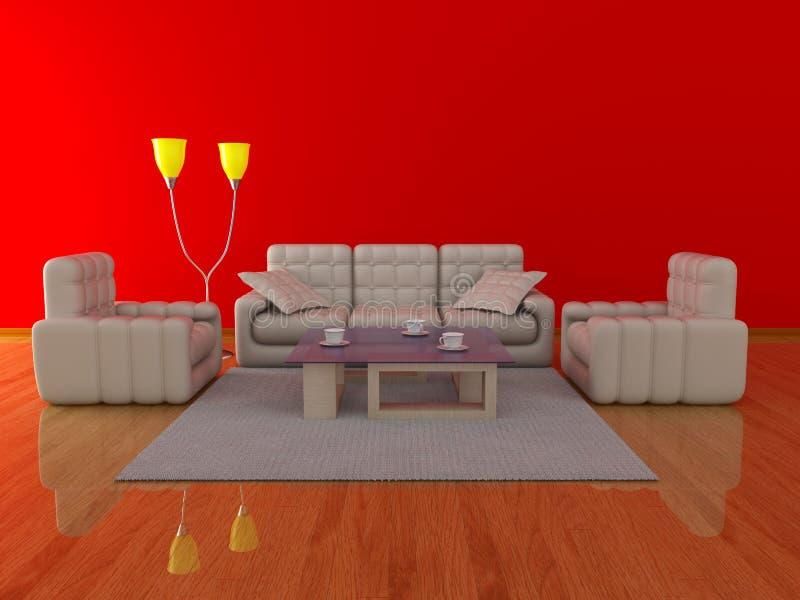 wewnętrzny żywy pokój ilustracji