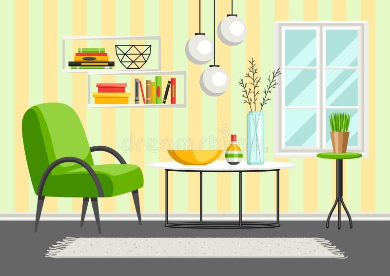 Wewnętrzny żywy pokój Meble i domowy wystrój ilustracja wektor