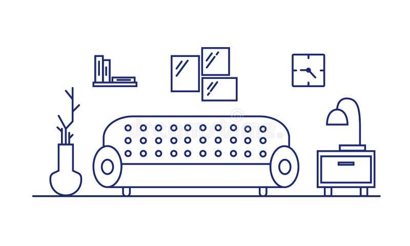 Wewnętrzny żywy pokój, sypialnia Meble w pokoju: kanapa, leżanka, wezgłowie stół Atmosfera nowożytny mieszkanie ilustracja wektor