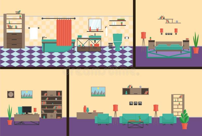 Wewnętrzny biuro, sypialnia, łazienka, żywego roomin nowożytny styl Zupełny set meble ilustracja wektor