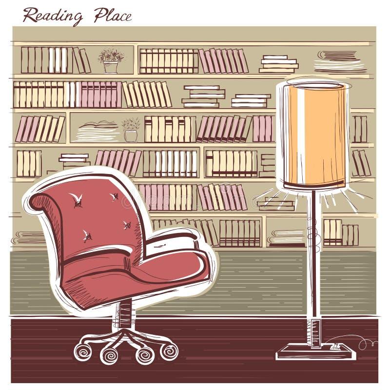 Wewnętrzny czytelniczy pokój Wektorowego kolor ręki remisu szkicowa ilustracja ilustracja wektor