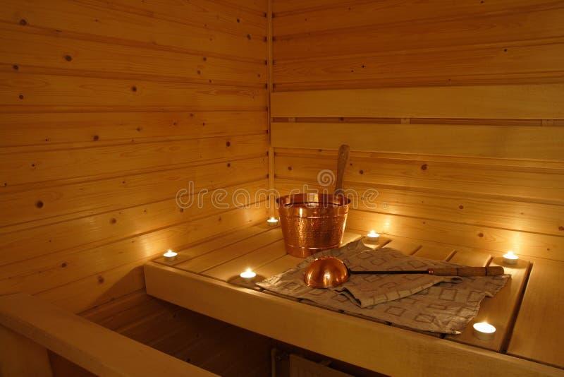 wewnętrzny finnish sauna obraz stock