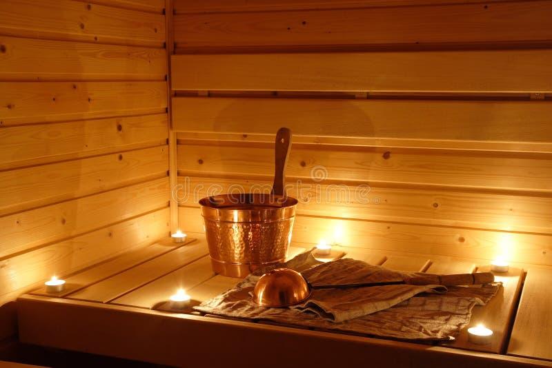 wewnętrzny finnish sauna zdjęcia stock