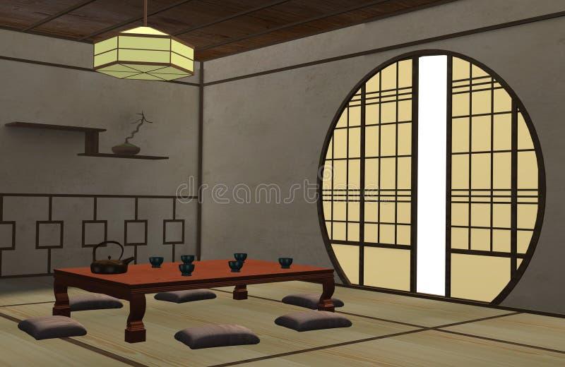 wewnętrzny japończyk ilustracji