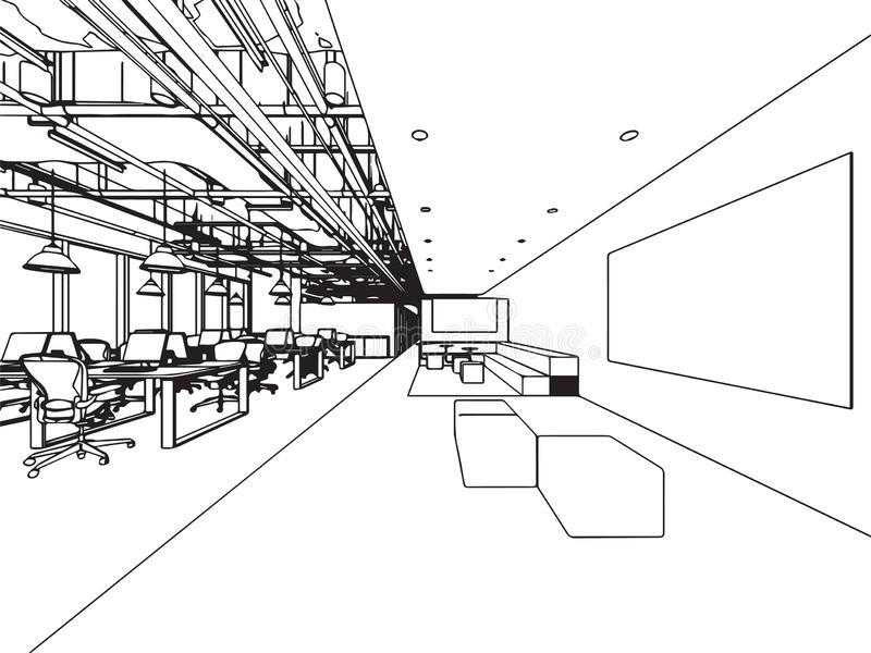 Wewnętrzny konturu nakreślenia rysunku perspektywy biuro zdjęcie stock