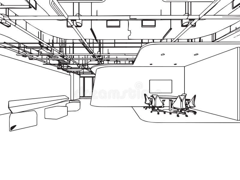 Wewnętrzny konturu nakreślenia rysunku perspektywy biuro obraz royalty free