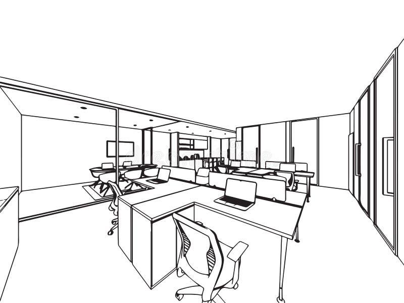 Wewnętrzny konturu nakreślenia rysunku perspektywy biuro obrazy stock