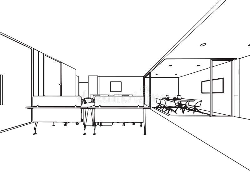 Wewnętrzny konturu nakreślenia rysunku perspektywy biuro obraz stock