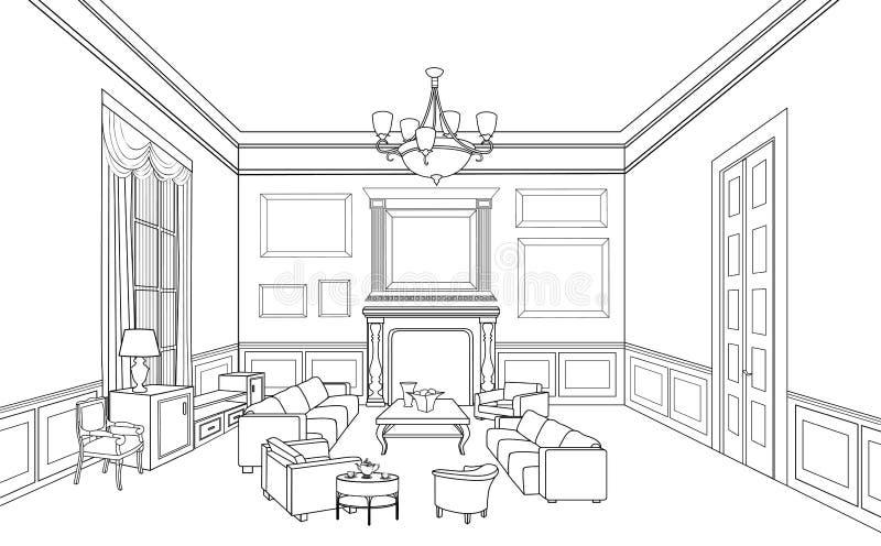Wewnętrzny konturu nakreślenie Meblarski projekt royalty ilustracja