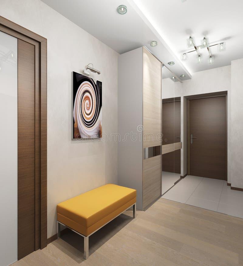 Wewnętrzny korytarz z drzwiami i stolec z wyścielanym siedzeniem royalty ilustracja