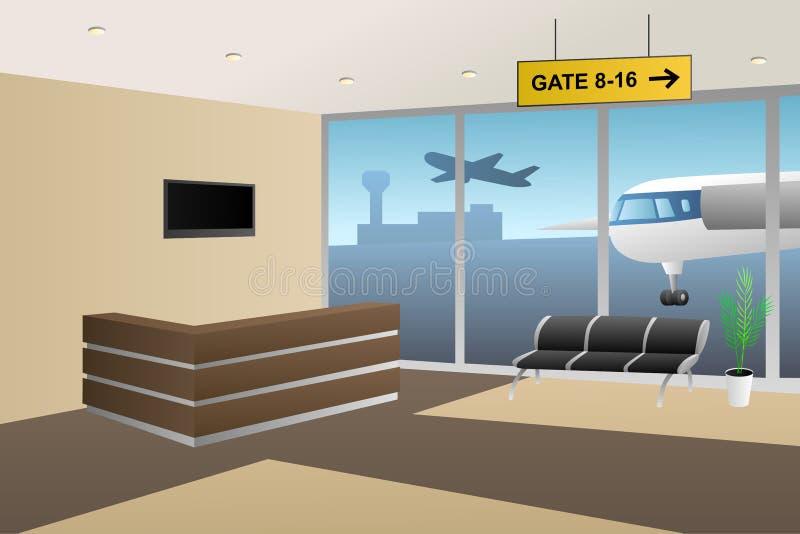 Wewnętrzny lotnisko wśrodku recepcyjnej beżowej brown ilustraci ilustracja wektor