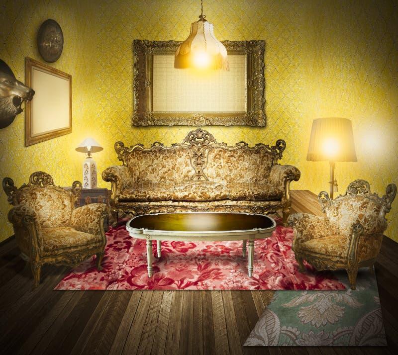 wewnętrzny luksusowy pokoju stylu wiktoriański ilustracji