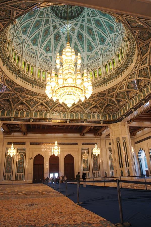 wewnętrzny meczetowy muszkatołowy Oman qaboos sułtan obrazy stock