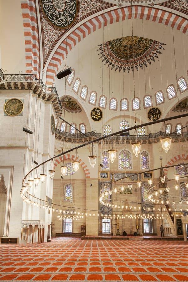 wewnętrzny meczetowy suleymaniye zdjęcie royalty free