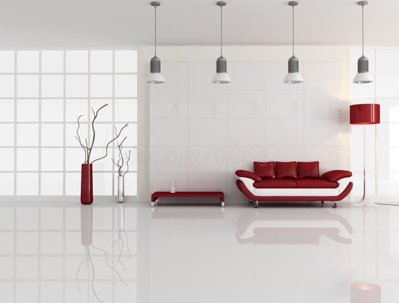 wewnętrzny minimalny czerwony biel ilustracja wektor