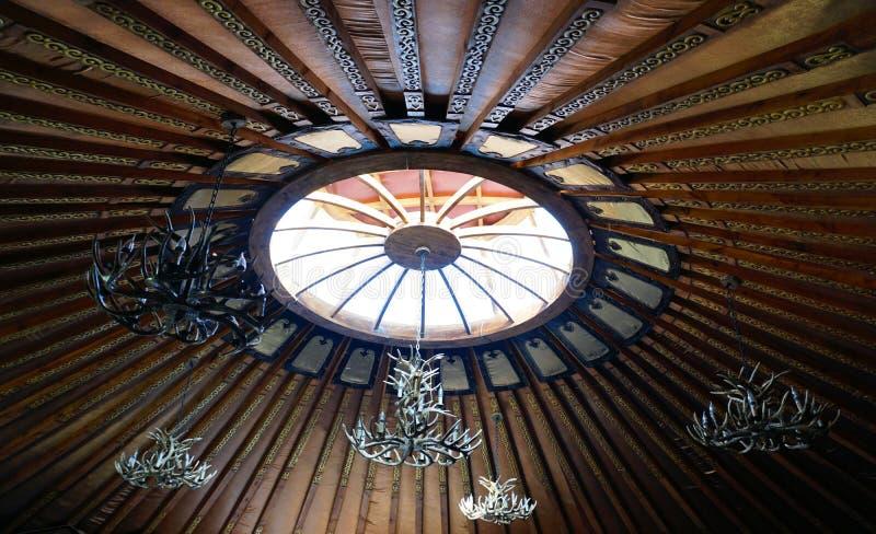 Wewnętrzny Mongolia jurty wierzchołka wnętrze zdjęcie stock