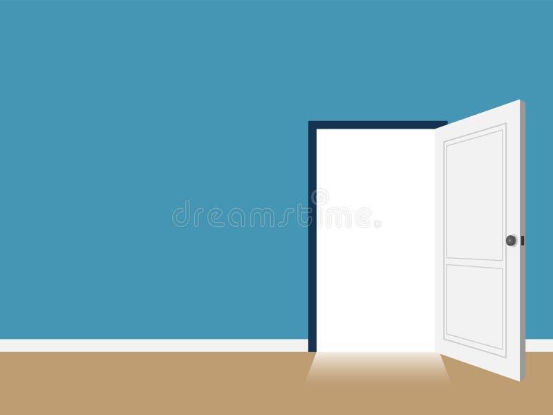 Wewnętrzny otwarte drzwi z odbitkowym astronautycznym wektorem royalty ilustracja