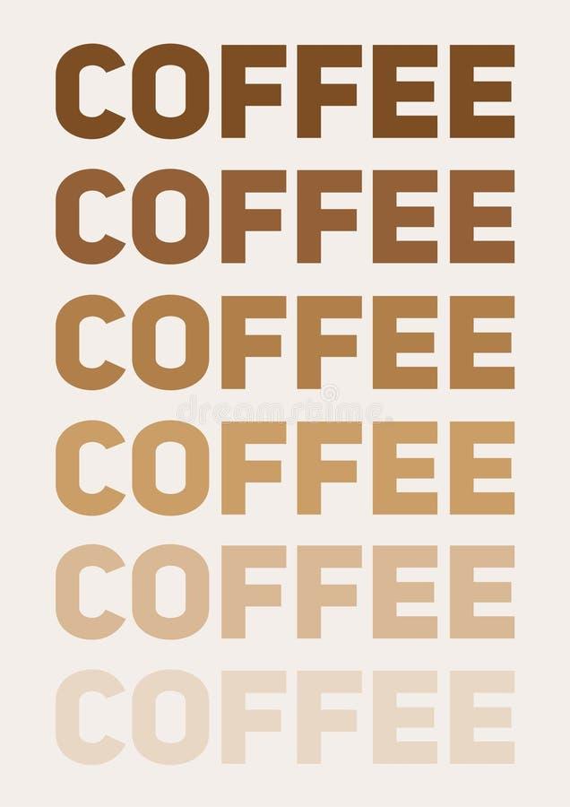 Wewnętrzny plakat, majcher lub sieć wizerunek dla kawowych kochanków, Wektorowa ilustracja z fadingu tekstem a4 rozmiar pliku royalty ilustracja