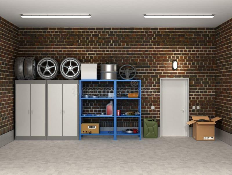 Wewnętrzny podmiejski garaż ilustracji
