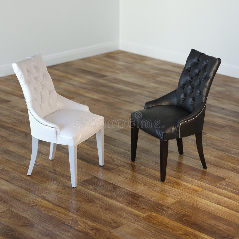 Wewnętrzny pokój Z Czarny I Biały krzesłami fotografia stock