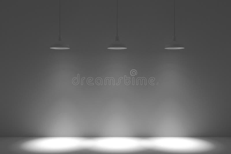 Wewnętrzny pokój z cztery podsufitowymi lampami, 3d rendering obraz stock