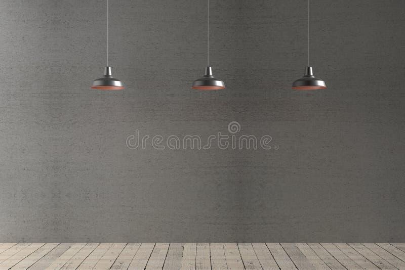 Wewnętrzny pokój z cztery podsufitowymi lampami, 3d rendering obrazy stock