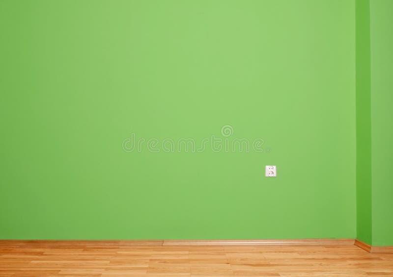 Wewnętrzny pokój z drewnianą podłoga i ścianą w zieleni z elektrycznym kontaktem w drewnianym okrążaniu i ścianie obrazy stock