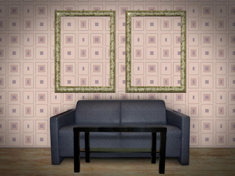 Wewnętrzny pokój z obrazek ramą zdjęcie stock