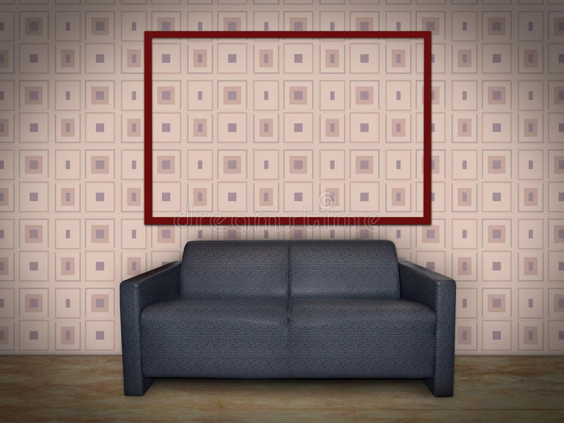Wewnętrzny pokój z obrazek ramą obraz royalty free