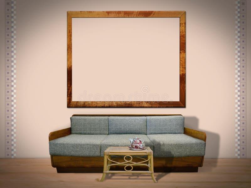 Wewnętrzny pokój z obrazek ramą zdjęcie royalty free