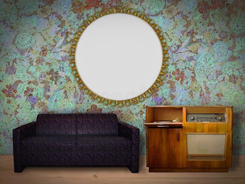 Wewnętrzny pokój z obrazek ramą obrazy stock