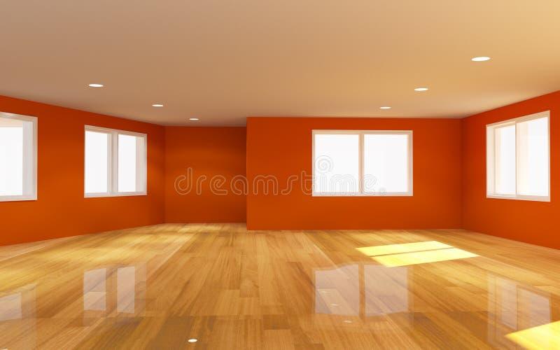 Download Wewnętrzny Pomarańczowy Pokój Ilustracji - Ilustracja złożonej z wnętrze, podłoga: 41953185