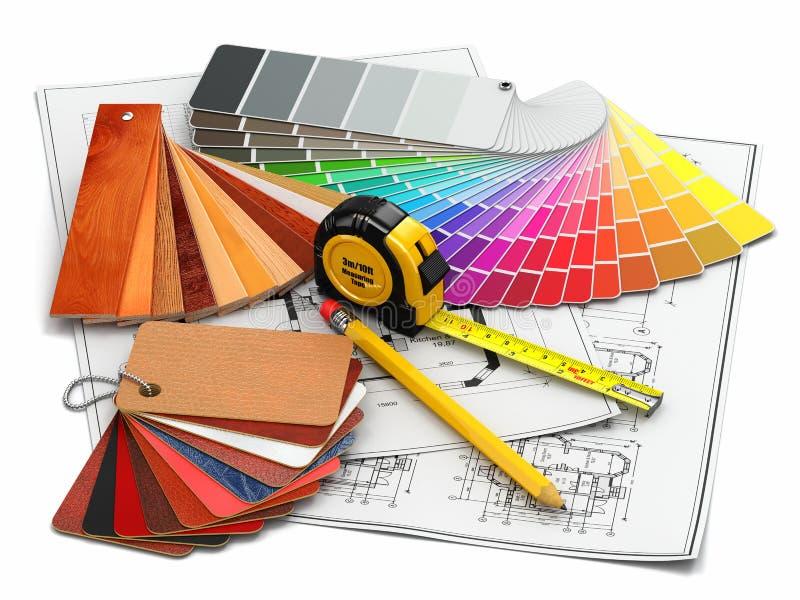 Wewnętrzny projekt. Architektoniczni materiałów narzędzia, projekty i ilustracji