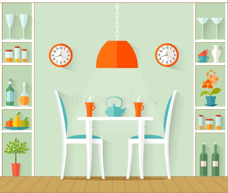 Wewnętrzny projekt jadalnia również zwrócić corel ilustracji wektora ilustracja wektor